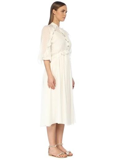 NetWork Kadın 1072925 Basic Fit Nopeli Fırfır Detaylı Midi Elbise Beyaz